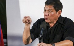 Philippines' president-elect Rodrigo Duterte gives a press conference in Davao City on June 2, 2016.  Rodrigo Duterte warned journalists on June 2, 2016 he would be unable to guarantee their safety, brushing off criticism over his previous comments that murdered corrupt reporters deserved their fate.  / AFP / MANMAN DEJETO        (Photo credit should read MANMAN DEJETO/AFP/Getty Images)