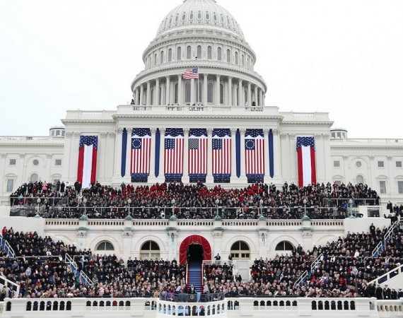 WASHINGTON, DC - JANUARY 21:  U.S. President Barack Obama gives his inauguration address during the public ceremonial inauguration on the West Front of the U.S. Capitol January 21, 2013 in Washington, DC.   Barack Obama was re-elected for a second term as President of the United States.  (Photo by Justin Sullivan/Getty Images)
