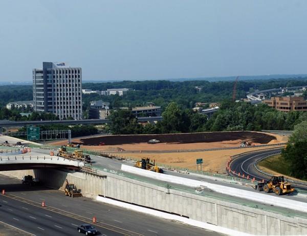 Capital Beltway HOT lane under construction